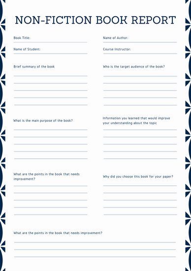 Nonfiction Book Report Template Elegant Turquoise Simple College Book Report Templates by Canva