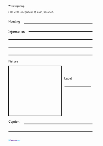 Nonfiction Book Report Template Elegant Writing Template Features Of A Non Fiction Text by