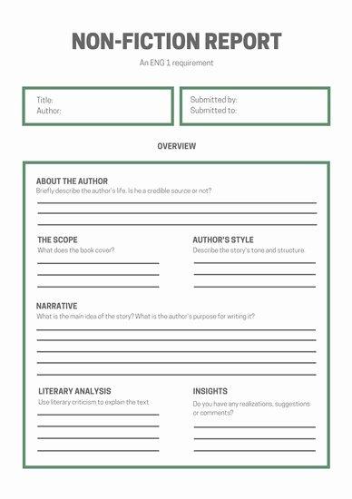 Nonfiction Book Report Template Fresh White Green Simple Non Fiction Book Report Templates by