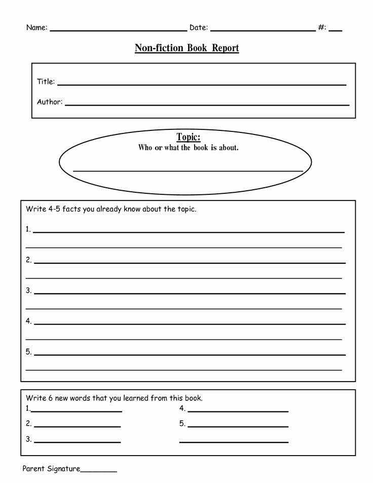 Nonfiction Book Report Template Inspirational Free Printable Book Report Templates