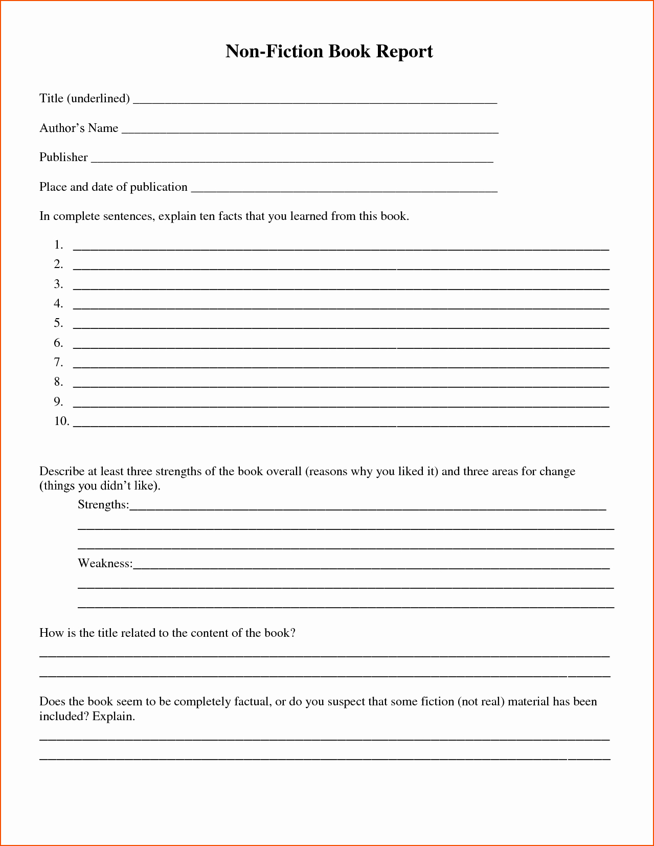 Nonfiction Book Report Template Luxury 7 Book Report Templates Bookletemplate
