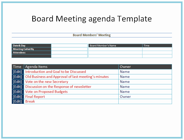 Nonprofit Board Meeting Minutes Template Lovely Board Meeting Agenda Template Easy Agendas