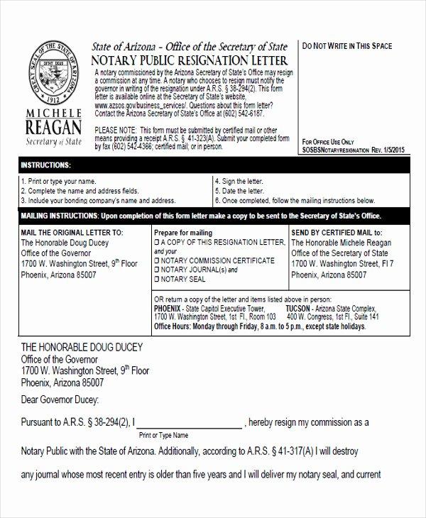 Notary Public Letter Template Elegant 65 Sample Resignation Letters