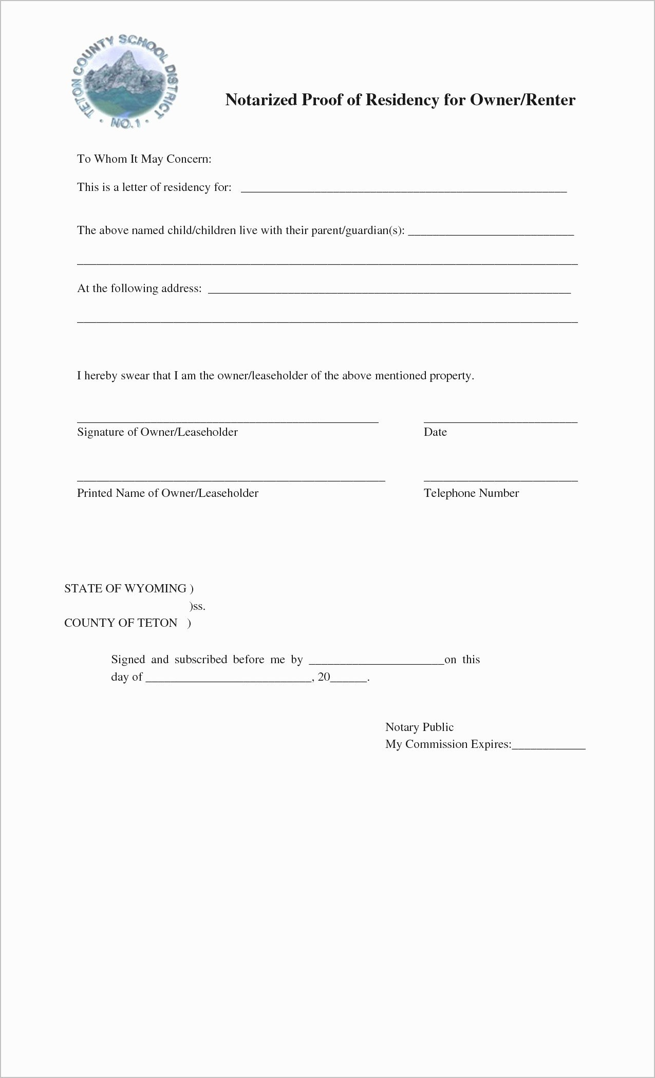 Notary Public Letter Template New Notary Public Proof Residency