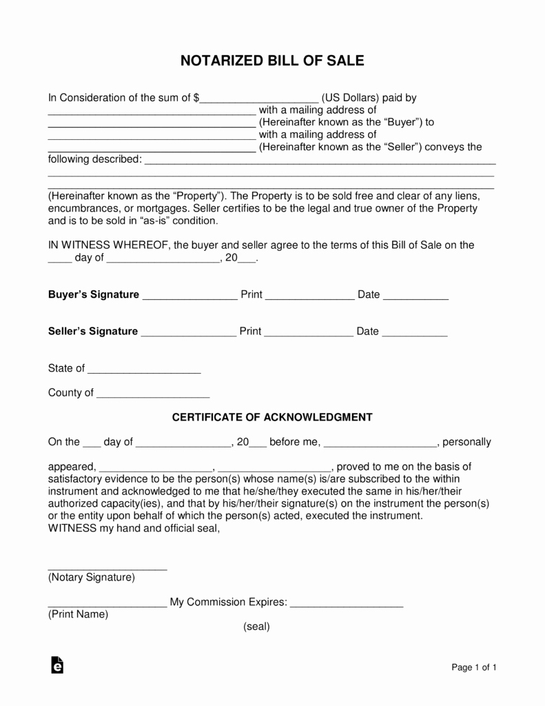 Notary Signature Example Fresh Free Notarized Bill Of Sale form Word Pdf