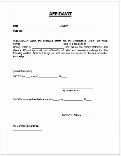 Notary Signature Template Inspirational Affidavit form Microsoft Word Templates