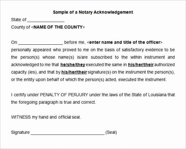 Notary Signature Template Unique 38 Acknowledgement Letter Templates Pdf Doc