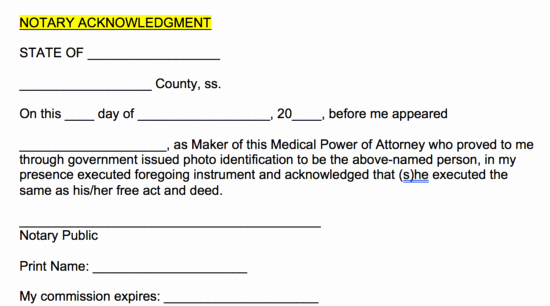 Notary Signature Template Unique Free Medical Power Of attorney forms