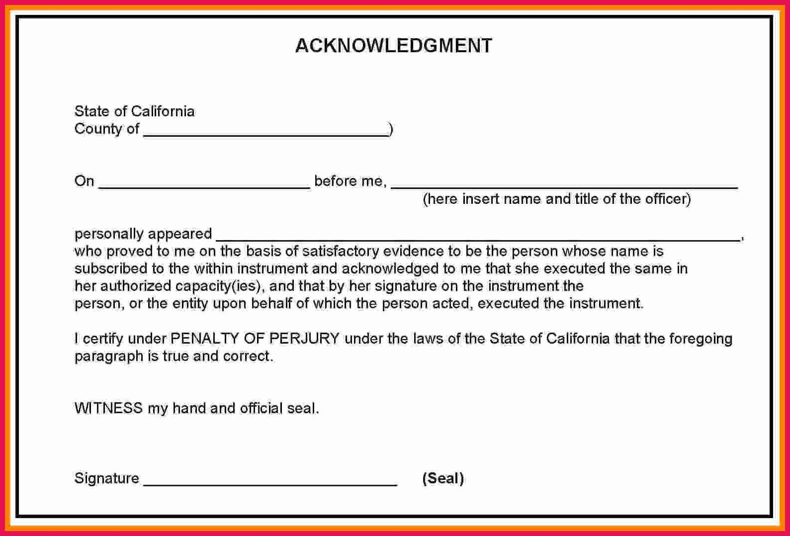 Notary Signature Template Unique Sample Notary Acknowledgement