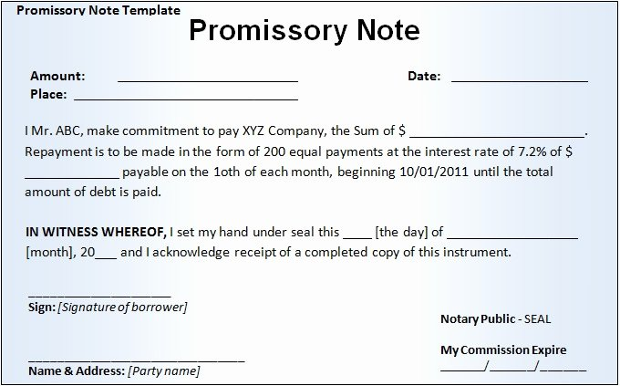 Note Receivable Template Inspirational 20 Promissory Note Templates Google Docs Ms Word