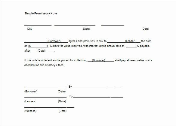 Note Receivable Template Unique form Promissory Not