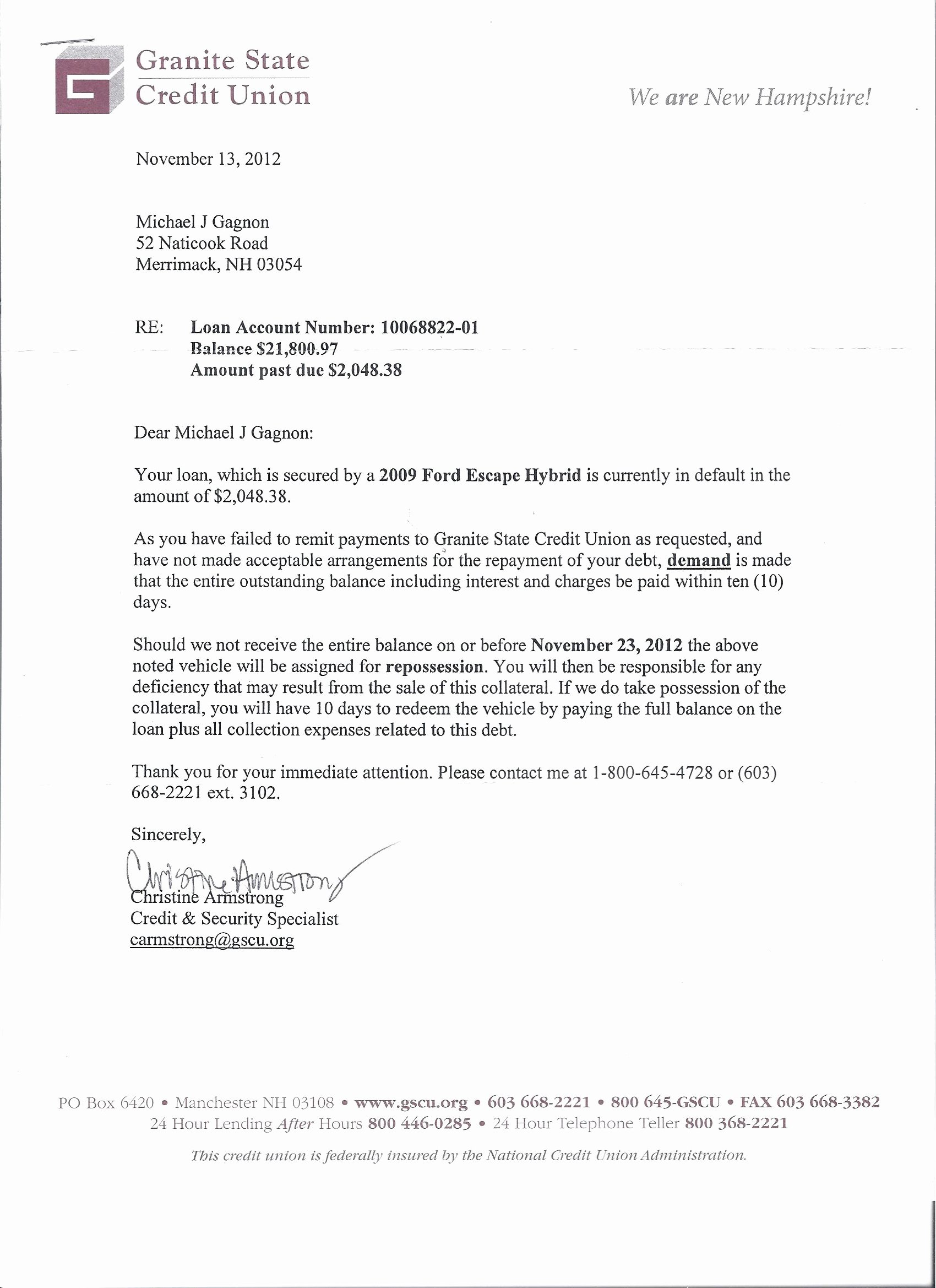 Notice Of Repossession Letter Template Luxury 12 10 12 Gscu Letter to Mr Michael J Gagnon 001
