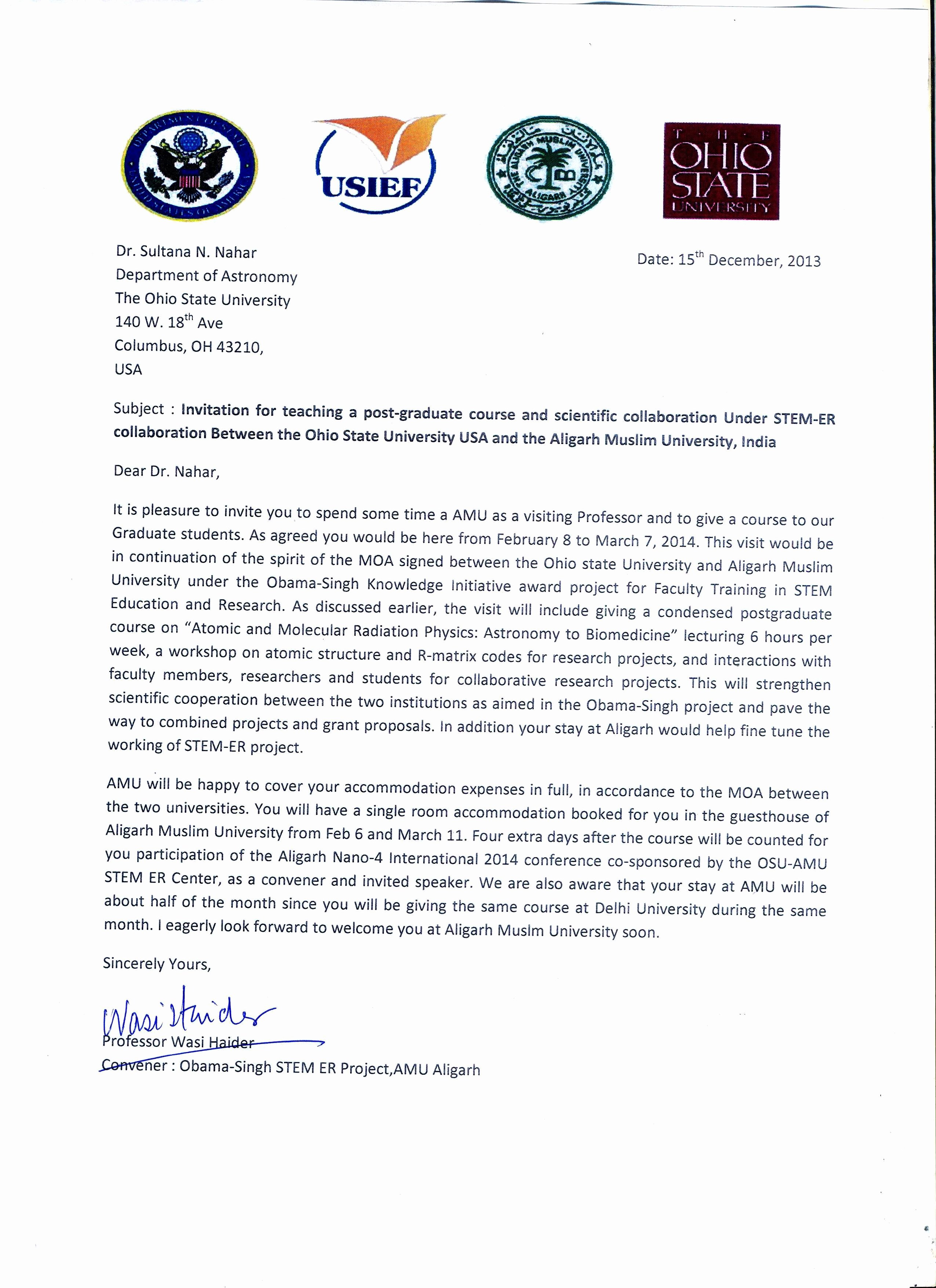 Nsf Letter Of Collaboration Template Unique Research Collaboration Invitation Letter