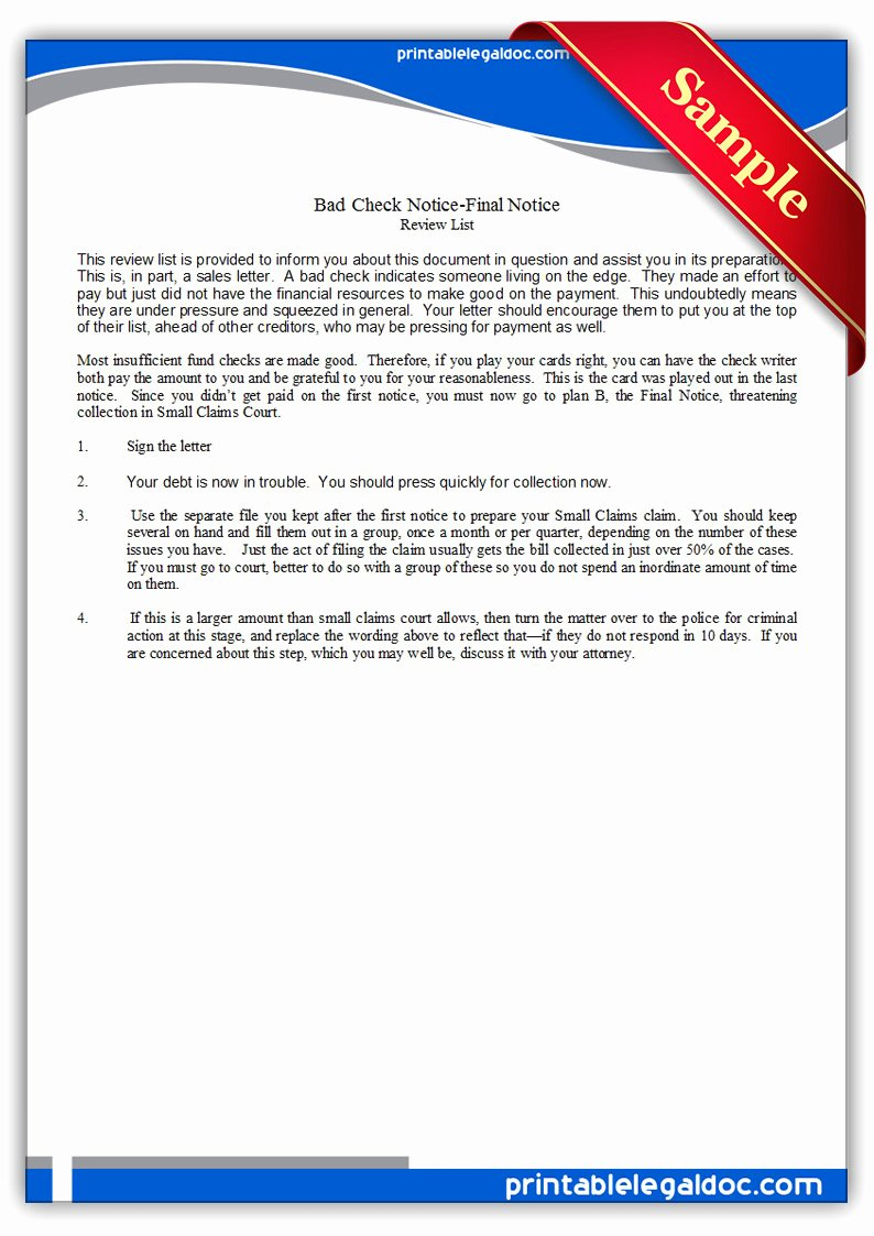 Nsf Letter Template Best Of Free Printable Bad Check Notice Final Notice form Generic