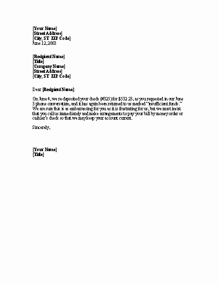 Nsf Letter Template Elegant Bad Check Notice Of Second Return Letter Templates Download