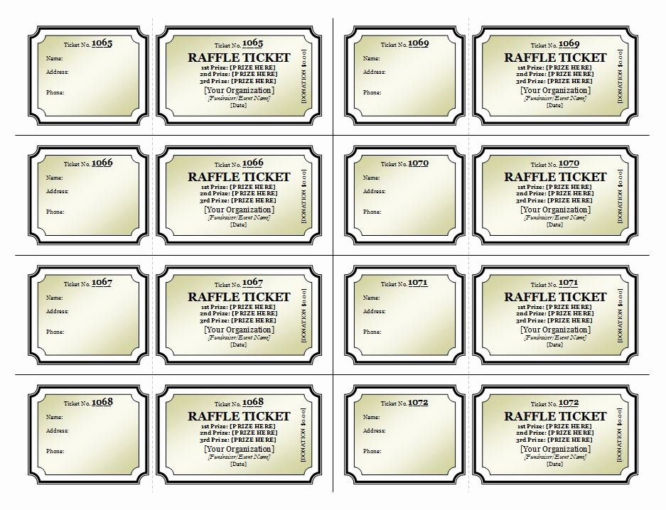 Numbered Raffle Ticket Template Awesome Raffle Ticket Template