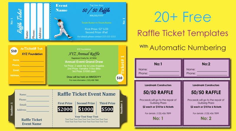 Numbered Raffle Ticket Template Word Beautiful 20 Free Raffle Ticket Templates with Automate Ticket
