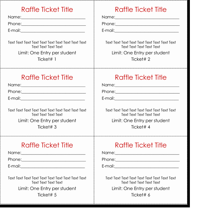Numbered Raffle Ticket Template Word Lovely 20 Free Raffle Ticket Templates with Automate Ticket