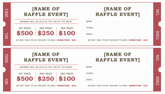 Numbered Raffle Ticket Template Word Unique Raffle Ticket Template 5 Free Printable Templates Word