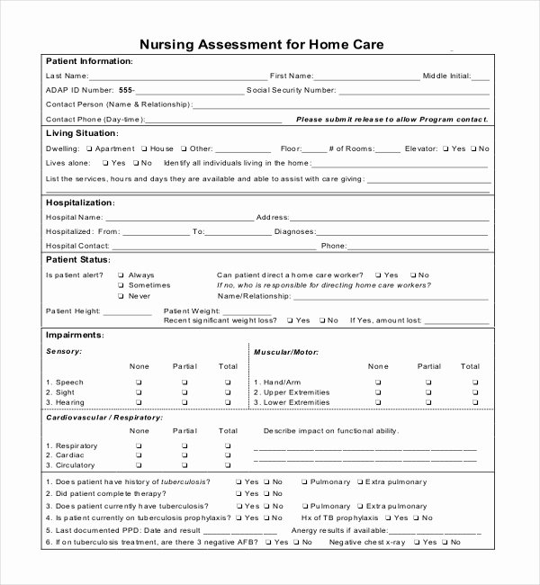 Nursing assessment Documentation Template Inspirational Sample Nursing assessment forms 7 Free Documents In Pdf
