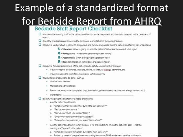 Nursing Bedside Shift Report Template Unique Bedside Reporting