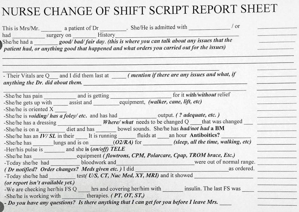Nursing Bedside Shift Report Template Unique Nursing Report Example Resume Handover Guidelines New Sbar