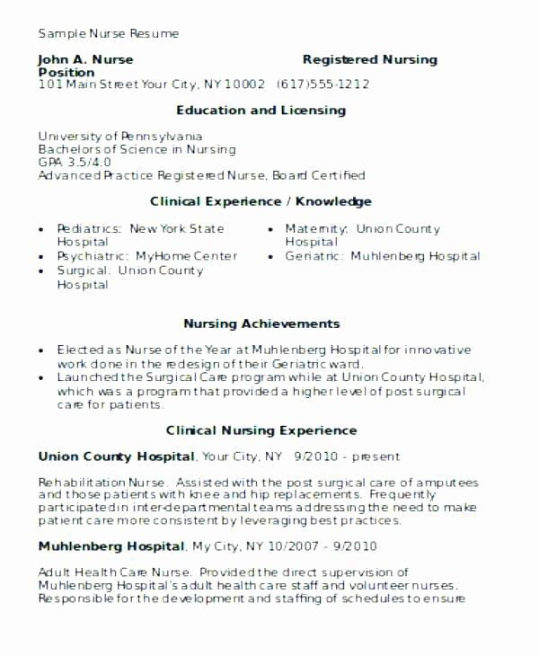Nursing Clinical Experience Resume Beautiful Student Nurse Clinical Experience Resume Example Jeans