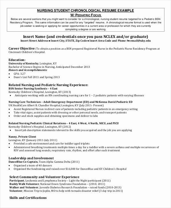 Nursing Clinical Experience Resume Elegant Nursing Student Resume Example 10 Free Word Pdf