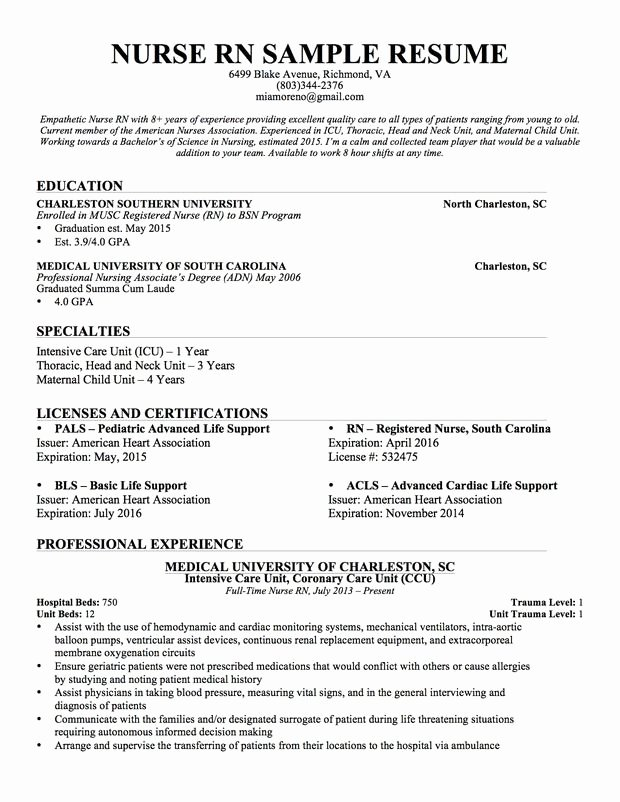 Nursing Clinical Experience Resume Inspirational Experienced Nursing Resume … Nursing