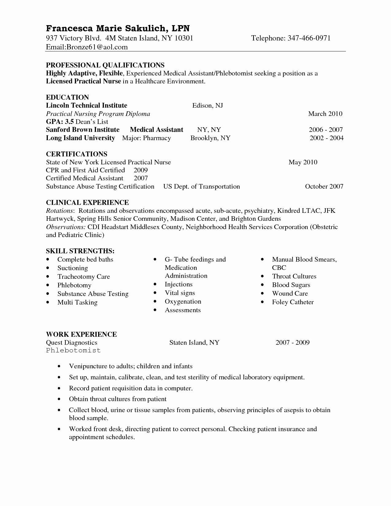 Nursing Clinical Experience Resume Lovely Entry Level Lpn Resume Sample Nursing