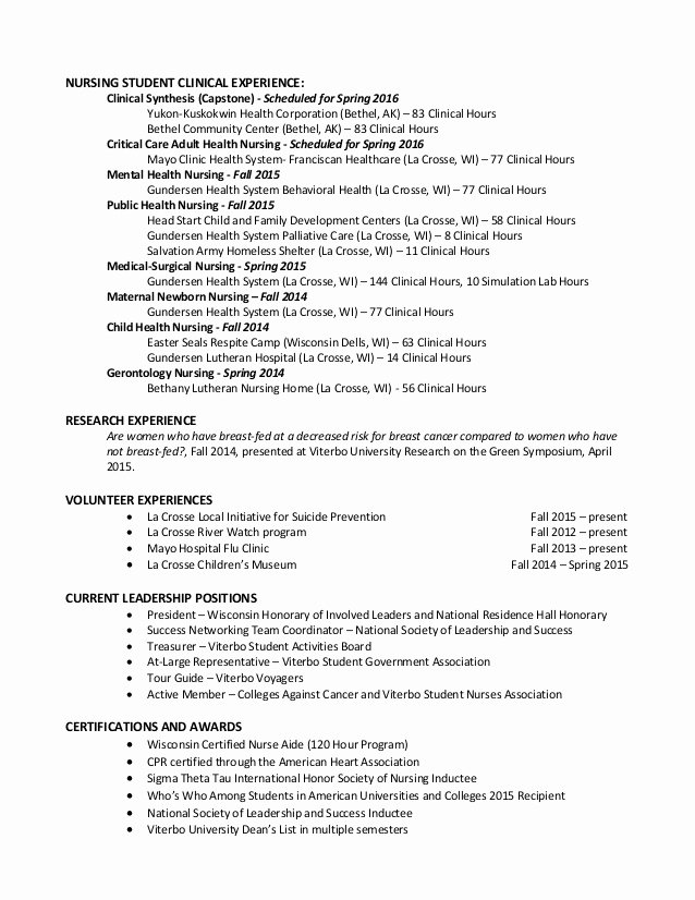 Nursing Clinical Experience Resume Lovely Professional Nursing Resume Brandon Stiefel