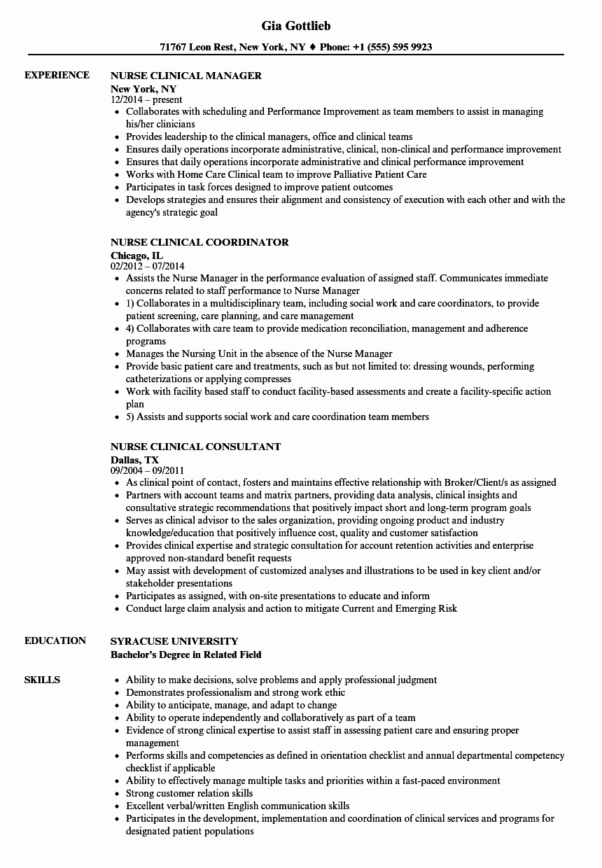 Nursing Clinical Experience Resume New Nurse Clinical Resume Samples
