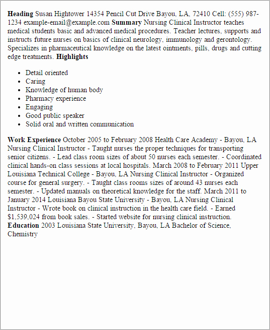 Nursing Clinical Experience Resume Unique Professional Nursing Clinical Instructor Templates to