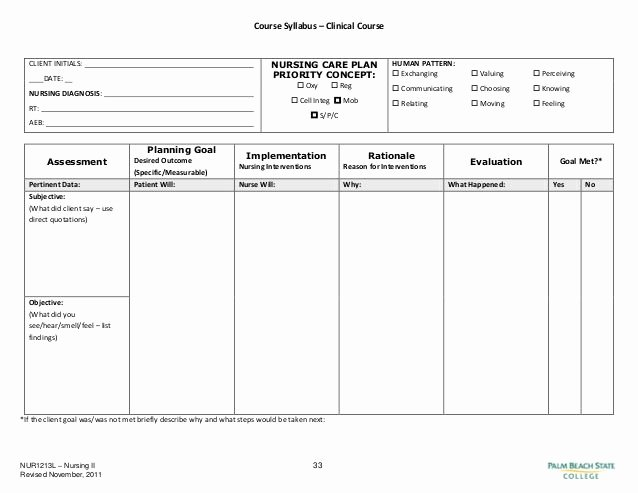 Nursing Education Plan Template Elegant Blank Nursing Care Plan Templates Google Search
