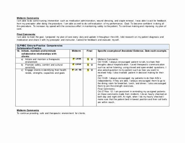 Nursing Evaluation Comments Examples Lovely Practical Nursing Preceptorship Evaluation