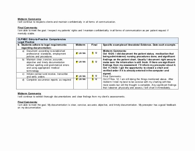Nursing Student Evaluation Comments Examples Beautiful Practical Nursing Preceptorship Evaluation