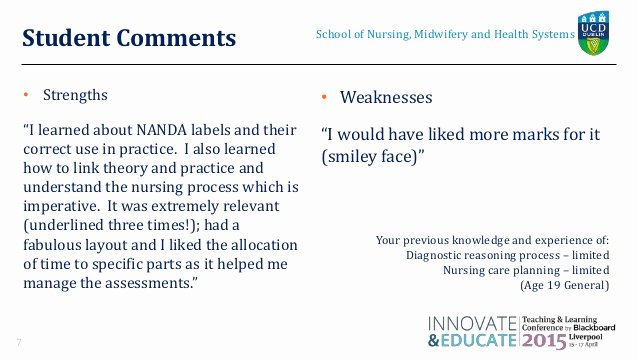 Nursing Student Evaluation Comments Examples New orla Davy Universitycollegedublin Revised
