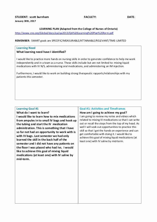 Nursing Teaching Plan Sample Elegant Learning Plan with 5 Goals
