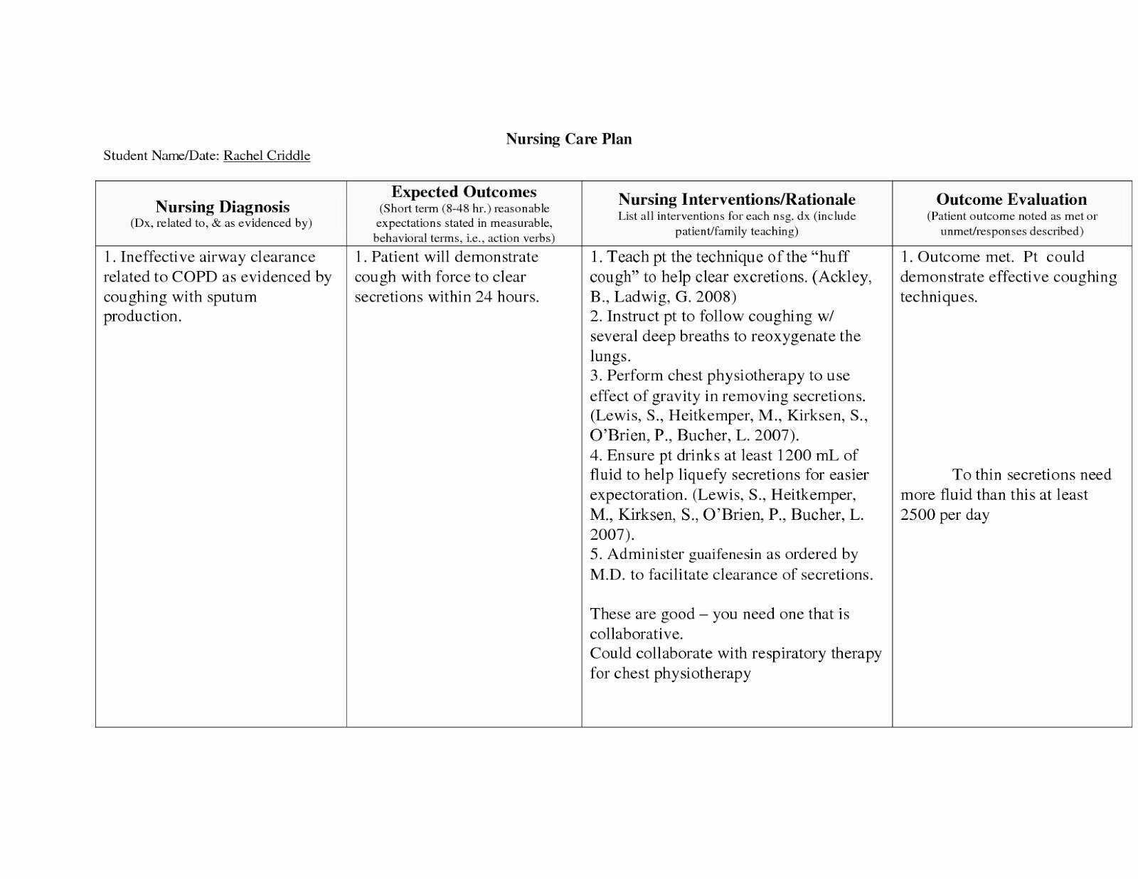 Nursing Teaching Plan Sample Inspirational Copd Nursing Care Plan Nursing Care Plan Examples