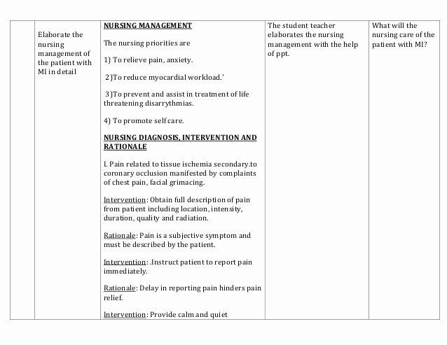 Nursing Teaching Plan Template Unique Lesson Plan On Myocardial Infarction