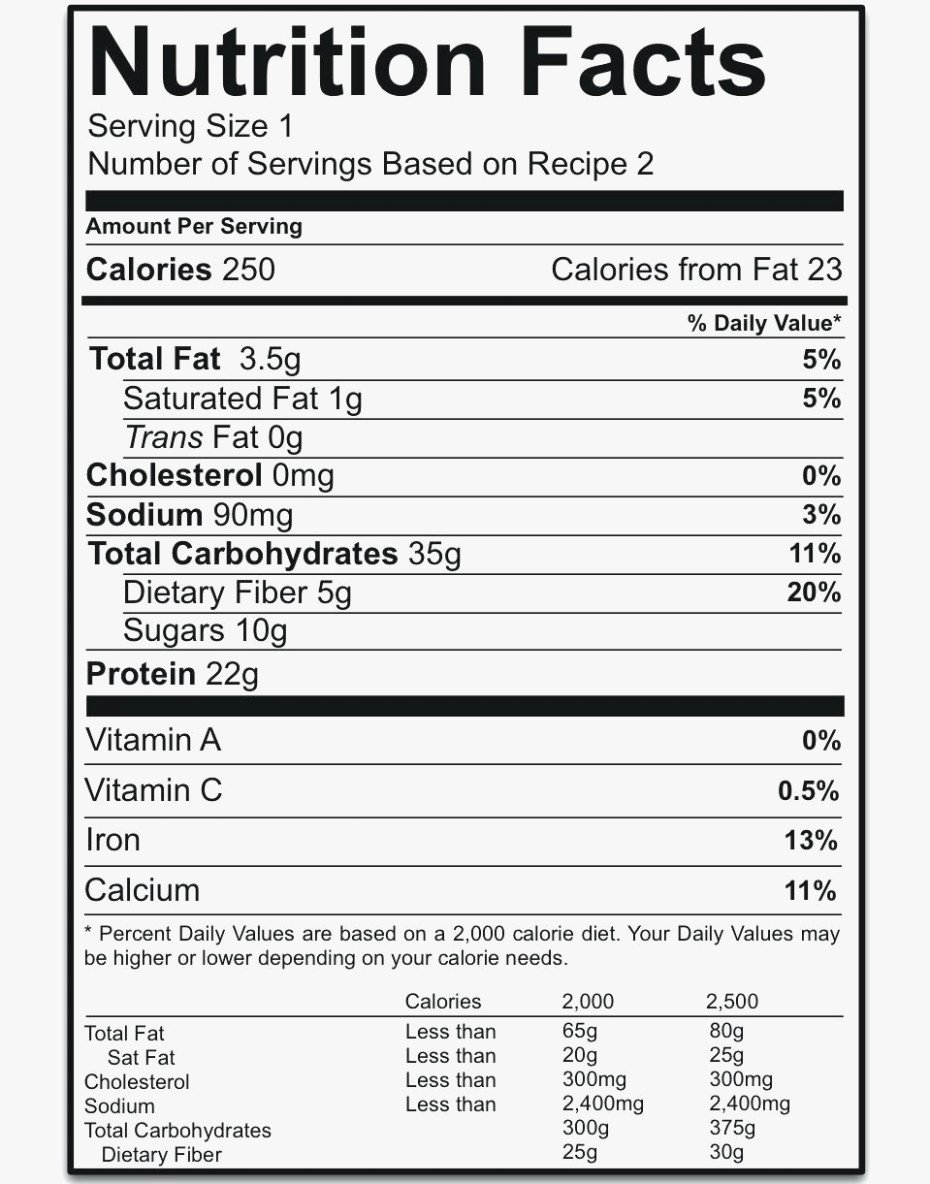 Nutrition Facts Label Template Fresh Nutrition Label Template Blank