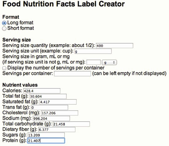 Nutrition Facts Label Template Luxury Nutrition Facts Panel Generator