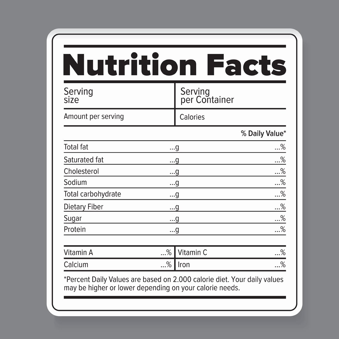 Nutrition Facts Label Template Unique Nutrition Facts Vector Label Graphic Objects Creative