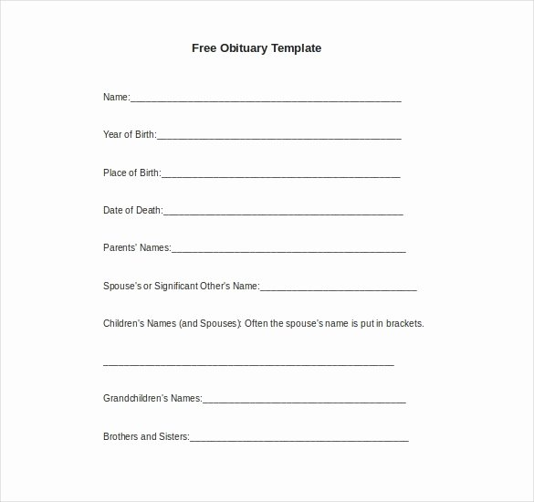 Obituary Templates Free Downloads Awesome Obituary Template for Microsoft Word 2018