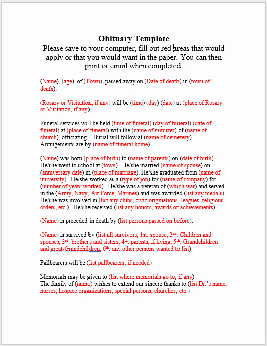 Obituary Templates Free Downloads Fresh 21 Free Obituary Templates Samples and Guides