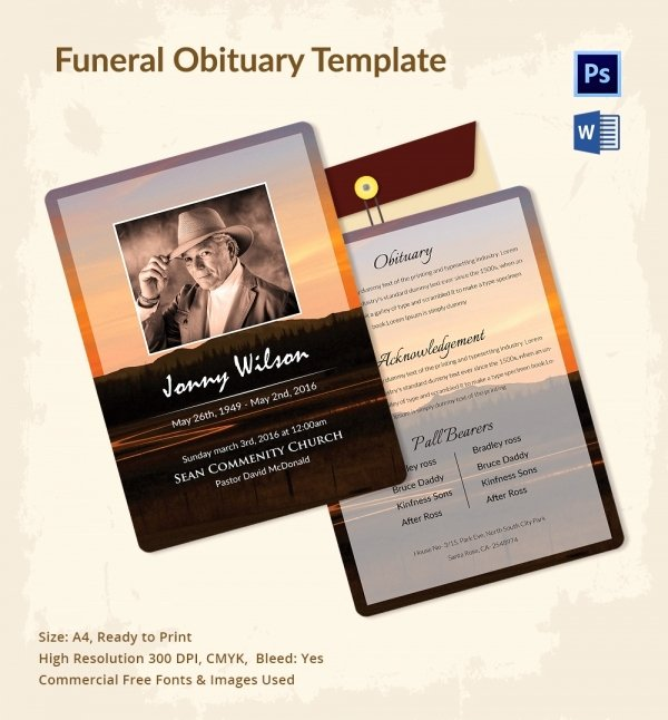 Obituary Templates Free Downloads Inspirational Funeral Obituary Template 25 Free Word Excel Pdf Psd