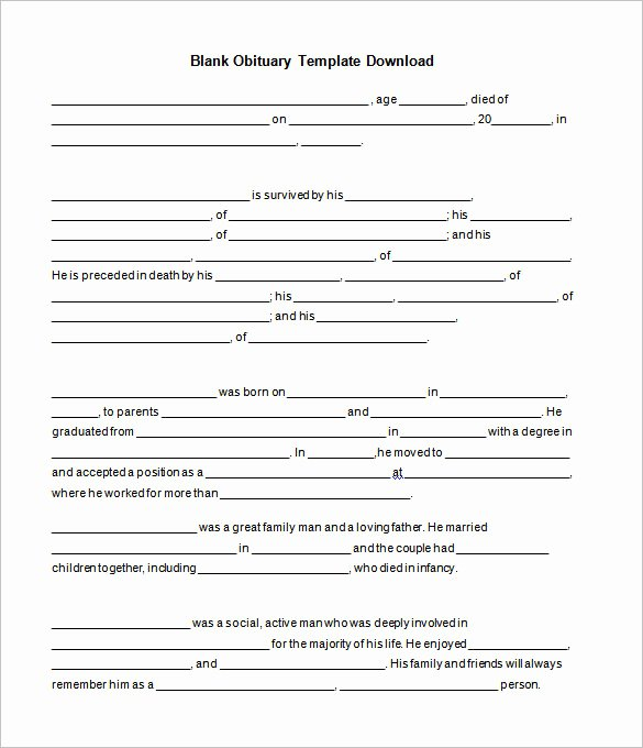 Obituary Templates Free Downloads Lovely Obituary Template 21 Free Blank Obituary Templates Word