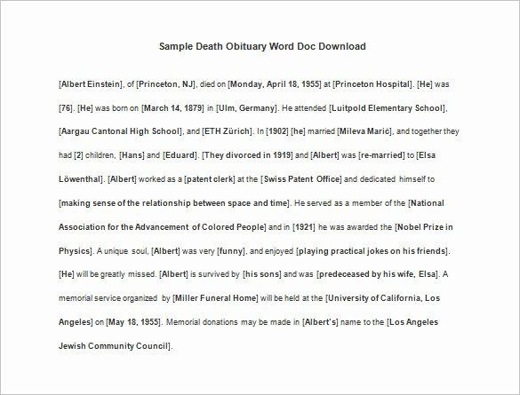 Obituary Templates Free Downloads New 9 Death Obituary Templates Doc Pdf Psd