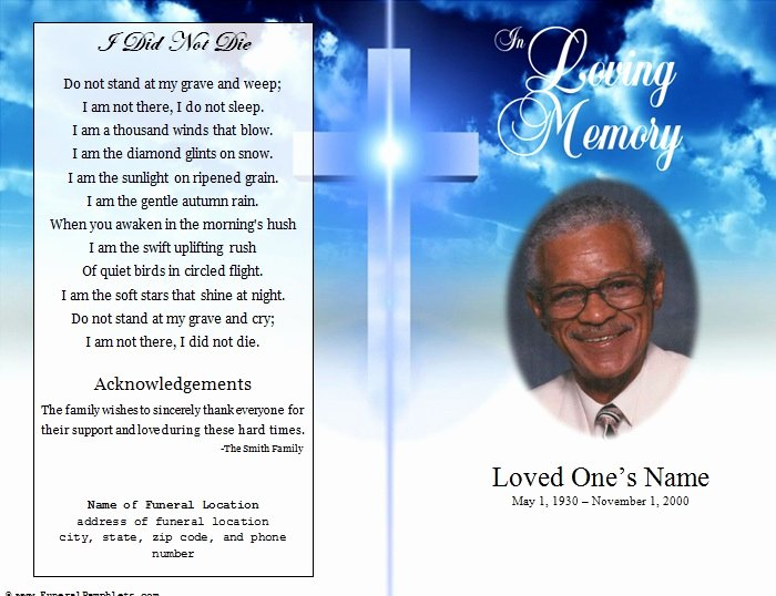 Obituary Templates Free Downloads Unique Cross Single Fold Funeral Program Funeral Pamphlets