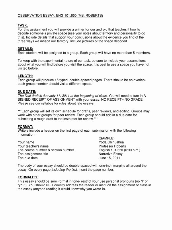 Observational Research Paper Examples Beautiful Observation Essay assignment Sheet by Lin Roberts Pdf